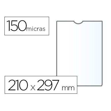 Funda portadocumento q-connect din a4 150 micras pvc transparente 210x297 mm (Pack de 25 uds.)