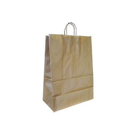 Bolsa kraft q-connect natural asa retorcida 270x120x360 mm (Pack de 25 uds.)