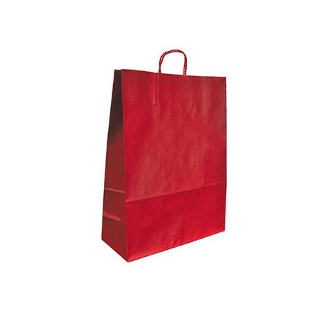 Bolsa kraft q-connect rojo asa retorcida 270x120x360 mm (Pack de 25 uds.)