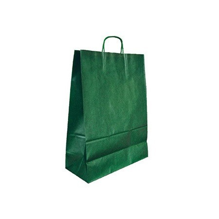 Bolsa kraft q-connect verde asa retorcida 240x100x310 mm (Pack de 25 uds.)