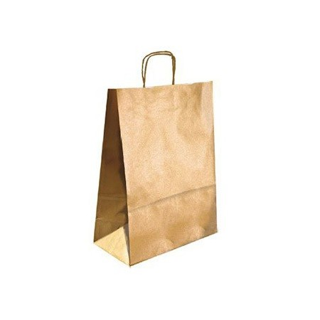 Bolsa kraft q-connect oro asa retorcida 240x100x310 mm (Pack de 25 uds.)