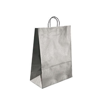 Bolsa kraft q-connect plata asa retorcida 240x100x310 mm (Pack de 25 uds.)