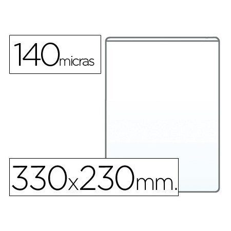 Funda portadocumento q-connect folio 140 micras pvc transparente 230x330mm (Pack de 100 uds.)