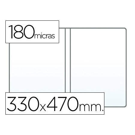Funda portadocumento q-connect folio doble 180 micras pvc transparente 330x470mm (Pack de 25 uds.)