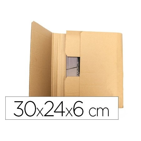 Caja para embalar q-connect libro medidas 300x240x60 mm espesor carton 3 mm (Pack de 5 uds.)