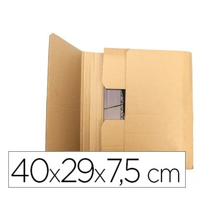 Caja para embalar q-connect libro medidas 400x290x75 mm espesor carton 3 mm (Pack de 5 uds.)