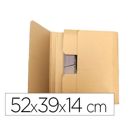 Caja para embalar q-connect libro medidas 520x390x140 mm espesor carton 3 mm (Pack de 5 uds.)