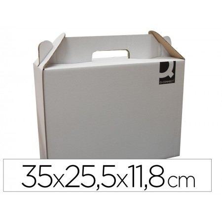 Caja maletin con asa q-connect carton para envio y transporte 355x120x258 mm