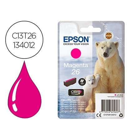 Ink-jet epson t26 xp-600 / 605 / 700 / 800 magenta 300 pag