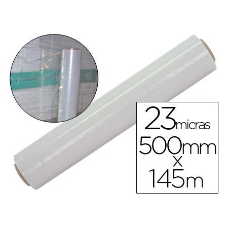 Film extensible manual bobina -ancho 500 mm. -largo 145 mt espesor 23 micras transparente