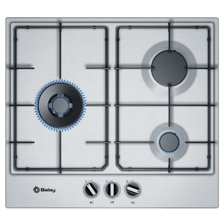 Placa Balay 3etx663mn Gas Encastrable 60cms Inox 9 Potencias Step Valve 3 Quemadores Gas Stop Autoencendido